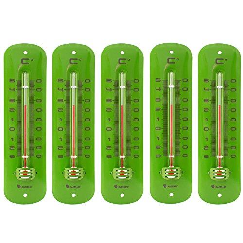 Lantelme 7235 Set Metallthermometer grün 5 Stück - Analog Metall Thermometer mit Einem...