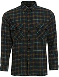 e52af6549fd TB Clothing Mens Work Shirts Brushed Cotton Lumberjack Flannel Long Sleeve  Check Shirt Woven Material FREE