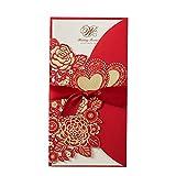 Kentop Lot de 50 cartes d'invitation de mariage avec intérieur vide 21.5x11.3cm rouge