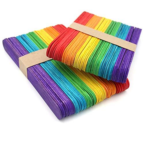 KINGLAKE 100 Pezzi 15x2 cm Bastoncini Artigianali in Legno Colorati Jumbo, Grandi Bastoncini di Legno per L'Arte Progetto Creativo Fai-da-Te