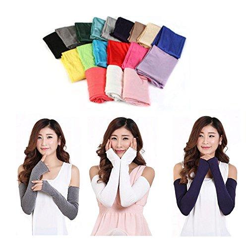 GOOTRADES Chic Frauen Baumwolle UV-Schutz Arm Wärmer Lange Fingerlose Handschuhe Ärmel, Schwarz - Arm Wärmer Handschuhe