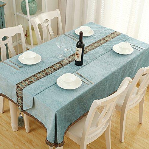 90 Bettwäsche Tischdecke Quadratische 90 X (Europäischer stil Leinen Rechteck Quadratische Tischdecken,Teetisch [esstisch] Tischtuch Schlafzimmer Schlafsaal Blue [west tisch]-A 90x90cm(35x35inch) Tischdecke)
