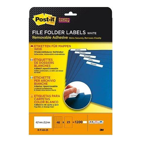 Post-it Super Sticky Etiketten für Mappen (bedruckbar, wiederablösbar, 45,7x21,2 mm) 1200 Etiketten weiß