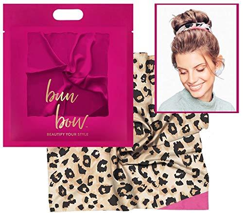 Pony Puffin Haartuch - Bun Bow Leoparden Muster Kopfband Nickituch Schleifentuch Seidenmatte Optik 50 x 50 cm Bandana Seidentuch