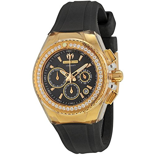 TechnoMarine Women's Diamonds 36.3mm Chronograph Black Rubber Date Watch 111008