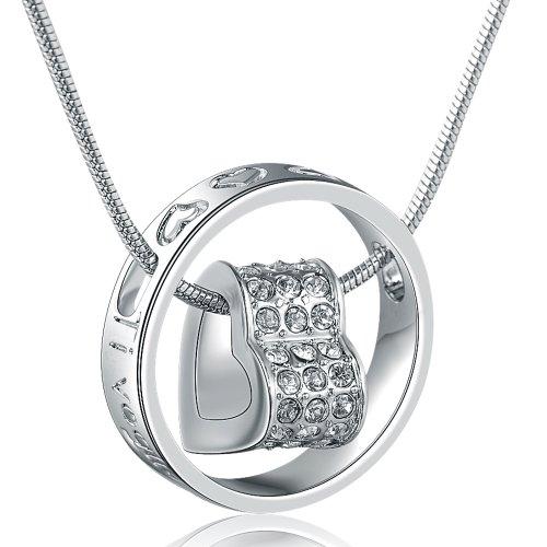 Marenja-regali festa della mamma collana donna placcato oro-pendente cuore in centro di anello incisione