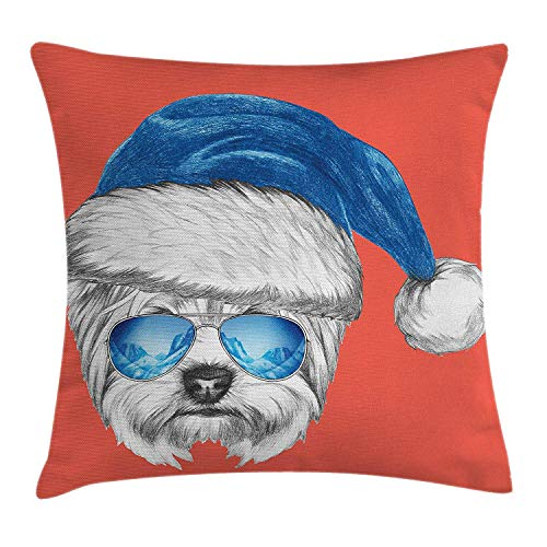 Yorkie Throw Pillow Cushion Cover, Terrier with a Blue Santa Hat and Mirror Aviator Glasses Fun Hand Drawn Animal, Decorative Square Accent Pillow Case, 18 X 18 inches, Coral White Blue