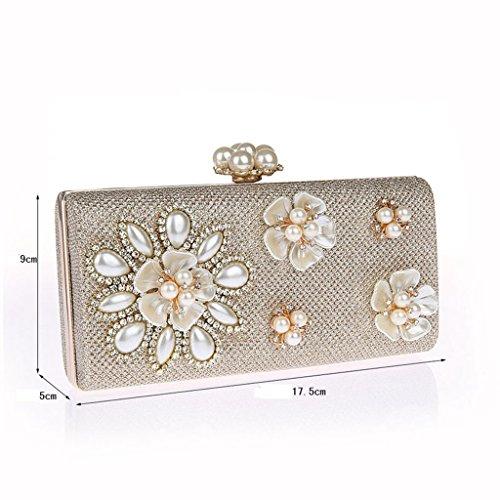 Le borse sacchetto del vestito bag mini mano nuovo fiore di diamante della moda borsa banchetto borsa da sera ( Colore : Champagne ) Nero