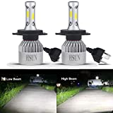 HSUN H4 9003 LED Headlight Bulb,All-in-One Conversion Kit-8000 Lumens Extremely Super Bright COB
