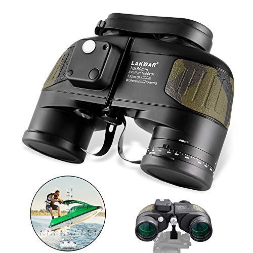 Binocolo Militare LAKWAR 10x50 per Lunghe Distanze, Binocoli Compatti per Adulti con Bussola e Telemetro, Binocoli di Grado Militare con Prisma BAK4, Impermeabili per Osservazione Uccelli Caccia