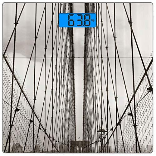 Digitale Präzisionswaage für das Körpergewicht York Ultradünne Personenwaage aus gehärtetem Glas Genaue Gewichtsmessungen, Brooklyn Bridge-Kabel Skyline von York City Fotografie Urban, Light Grey Char -