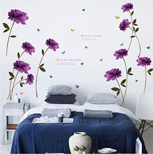 Adesivo da parete fai da te classico adesivi rose viola smontabile home decor parete del soggiorno decorazione di sfondo farfalla adhesivos pared hogar 90x60cm