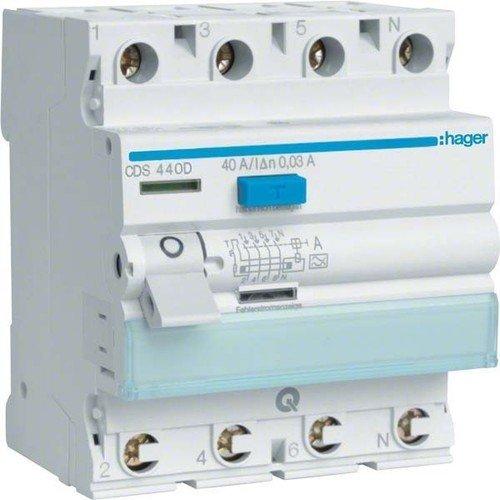 Hager FI-Schutzschalter CDS440D (40 Wasser-heizung-gas)