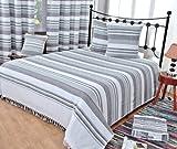 Homescapes waschbare Tagesdecke Sofaüberwurf XXL Morocco grau weiß 255 x 360 cm Überwurfdecke Bettüberwurf 100% reine Baumwolle