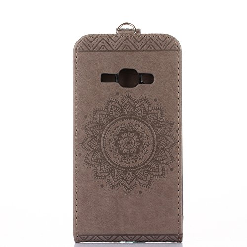 Samsung Galaxy J1 (2016) J120 Hülle Leder Tasche Flip Cover Samsung Galaxy J1 (2016) J120 Wallet Case Alfort Stilvoll Handycover Grau Mandala Blumen Muster PU Ledercase Brieftasche Handyhülle für Sams Grau