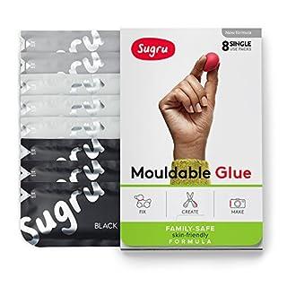 Sugru Mouldable Glue - Family-Safe | Skin-Friendly Formula - Black, White & Grey 8-Pack
