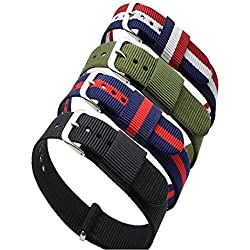 Ritche 4pc 18mm Nylon Replacement Wristband ,Striped Blue /Red,blue /White/red,black, Army Green Replacement Watch Strap Band