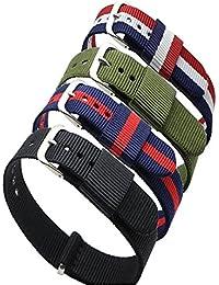 Ritche - 4unidades de correa De Repuesto, de 18mm, de Nailon, colores: rayas azul/rojo, azul/blanco/rojo, negro, y Verde camuflaje. Correa de repuesto para reloj