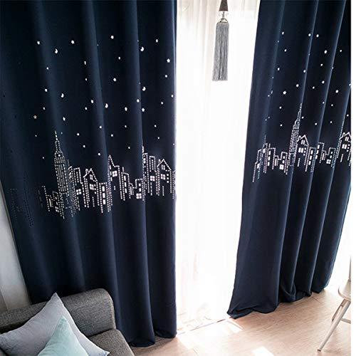 Star print hollow black out tenda per tende in tessuto per soggiorno tende da pavimento a soffitto finestra per tende ombra per tende tende blu scuro per ragazze camera da letto,150 * 200cm(59x79in)