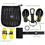PRO Schlingentrainer, Suspension Trainer Fitness System mit Suspension Trainingsband + Aufhängung Anker+ Türanker -