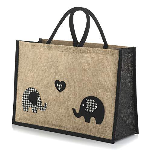 Harris Tweed Elefanten in Love Jute Sackleinen Große Einkaufstasche schwarz