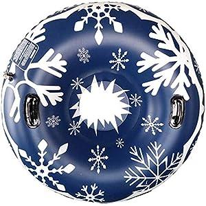 LilouGG Schneeschuhe für Winterspaß, aufblasbar, 120 cm, robust, für Kinder und Erwachsene, robuste Schlitten, leicht zu greifende Griffe (Doppel-Typ) blau