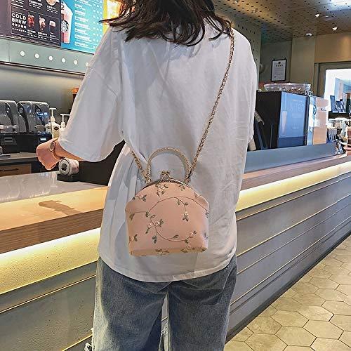 YKDY Gestickte Blumenmuster Spitze Muscheltasche PU Leder Kette Einzelner Schulterbeutel Damen Handtasche Umhängetasche (Pink) (Farbe : Rosa) - Leder Gestickte Brieftasche