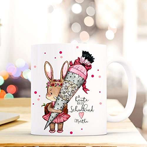 (ilka parey wandtattoo-welt Geschenke Einschulung Federtasche Tasse Emaillebecher Thermobecher Mason Jar Trinkglas Kissen oder Waschtasche mit Häschen Schultüte & Name Wunschname pb03 - *Kaffeetasse*)