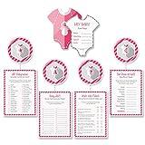 Mia-Félice Decorations Babyparty Baby-Shower Deko Partyspiel Komplettset 40 Stück, 8X Babybody, 8X Der Preis ist Heiß, 8X Wahr oder Falsch, 8X VIP-Babynamen, 8X Baby-ABC, mädchen rosa