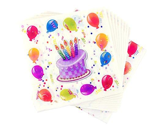 FiveSeasonStuff 2-lagig 33cm x 33cm (13 x 13 inches) Papier Geburtstag Servietten, Getränke-Servietten, Mittagessen / Tafelservietten, Geburtstagsfeierversorgungen (40pcs, Stil Nr.5)