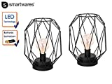 2er Set Retro LED Tischleuchte / Dekoleuchte, Batteriebetrieben, Höhe ca. 20 cm, Smartwares