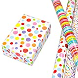 Geschenkpapier Kinder Set 3 Rollen (75 x 150 cm), modernes Streifen Geschenkpapier bunt, Punkte-Design hochwertig mit Glitter veredelt, Rauten auf mattweißem Fond. Für Geburtstag, Kinder.