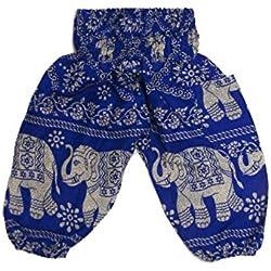 Lofbaz Niños Pantalones Harem Gypsy patrón del elefante 2 Hippy Azul Talla 2T