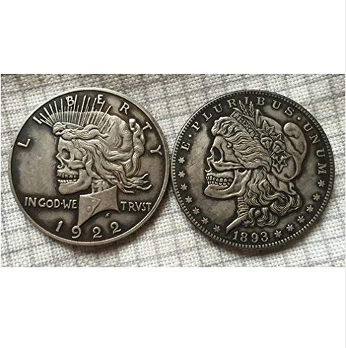 bespok Souvenirs seltenes Antikes USA United States Two Face Peace und Totenkopf Zombie Morgan Dollar Silber Medaille (Peace Silber-dollar-münzen)