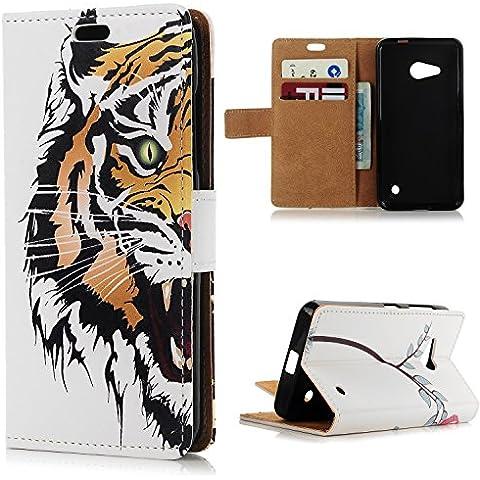 Nokia 550 Lumia Cover Libro,YOKIRIN Custodia Flip per Nokia Microsoft Lumia 550 Case PU Leather con il Supporto, Chiusura Magnetica e Slot per Schede / Tasche per Carte di Credito - Disegno Tigre