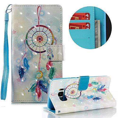 Gurt Lederhülle für Samsung Galaxy S8 Plus,Brieftasche für Samsung Galaxy S8 Plus,Moiky Stilvoll Luxuriös 3D Feder Traumfänger Muster Ständer Karten Slot PU Leder Etui Hülle