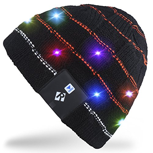 Rotibox Children Boys Girls Stylish LED Light Up Beanie Hat Knit Cap for Indoor and Outdoor Festival Holiday Celebration Parties Christmas Gifts