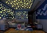 100pcs DIY Colorido pegatinas de pared calcomanía forma de estrella luminosa fluorescente brillan en la oscuridad del bebé habitación de los niños de la etiqueta Estrellas Decoración,color mezclado