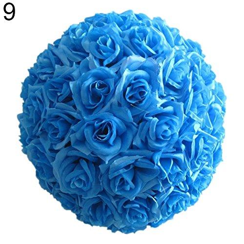 Derkoly - sfera di fiori artificiali in seta, 20,3 cm, decorazione da appendere, centrotavola, colore: azzurro