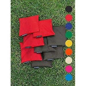 8 Cornhole Säckchen mit 400g (oder 250g) Füllung (Kunststoff Granulat oder Mais), freie Farbwahl und sehr…