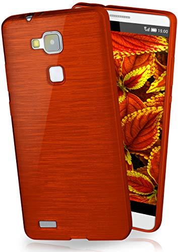 moex® Stylische Brushed Aluminium-Optik und starker Grip | Ultra dünne Silikonhülle passend für Huawei Mate 7 in Wein-Rot