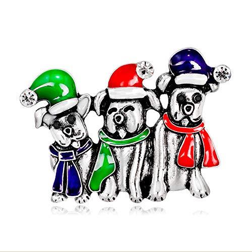 Topdo Brosche 1pcs Drei Hunde Weihnachten Kleidung Ornament Brosche Für Frauen Mädchen Geschenk Größe 3.0 * 4.0CM