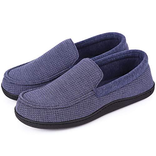 EverFoams Herren Komfortable Memory Foam Atmungsaktiv Baumwolle Gestrickt Mokassin Hausschuhe mit Gummisohle-42 EU-Blau