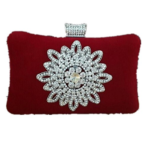Damen Abendkleider Paket Diamantperle Abendessen Bankett Samt Handtasche Bankett-Paket Red