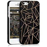 kalibri Hülle für Apple iPhone SE / 5 / 5S - Holz Case Handy Schutzhülle Bambusholz aus Kunststoff - Hardcase Cover Splitter Design Schwarz Hellbraun