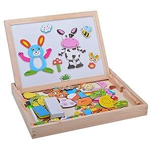 Zeagoo Jouets éducatifs Pour Bébés en Bois Douze Signes de l'astrologie Animals avec Boîte Chevalet Doodle Planche à Dessin Puzzle Tableau Noir