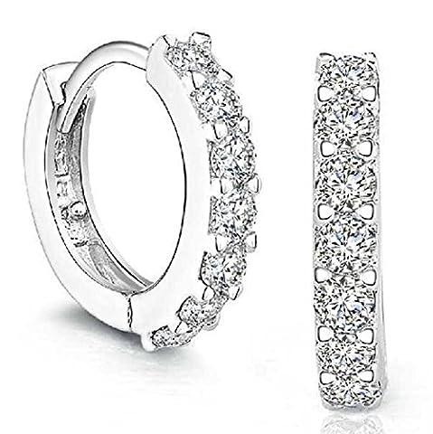 TIFIY Frauen klassische 925 Sterling Silber All-Match Strasssteine Hoop Diamond
