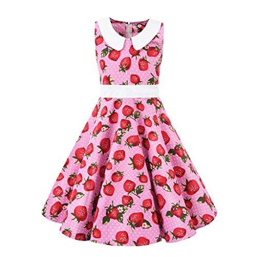 Livoral Baby badewanne Kinder Teen Kinder Mädchen Vintage 1950er Jahre Retro ärmellose Blumendruck lässige Kleidung(Wassermelonenrot,X-Small) (Jungen Farbige Jeans Größe 12)