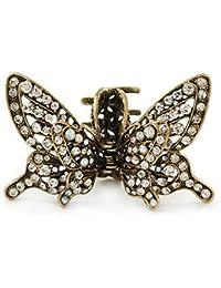 Estilo Retro inspirada en claro cristal mariposa con alas funda para pelo pinza para en oro antiguo tono–85mm de ancho