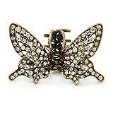 Vintage ispirato cristallo farfalla con ali mobile Hair Claw in tonalità oro antico–85mm di diametro immagine